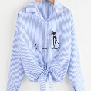 Blue and white striped collar shirt
